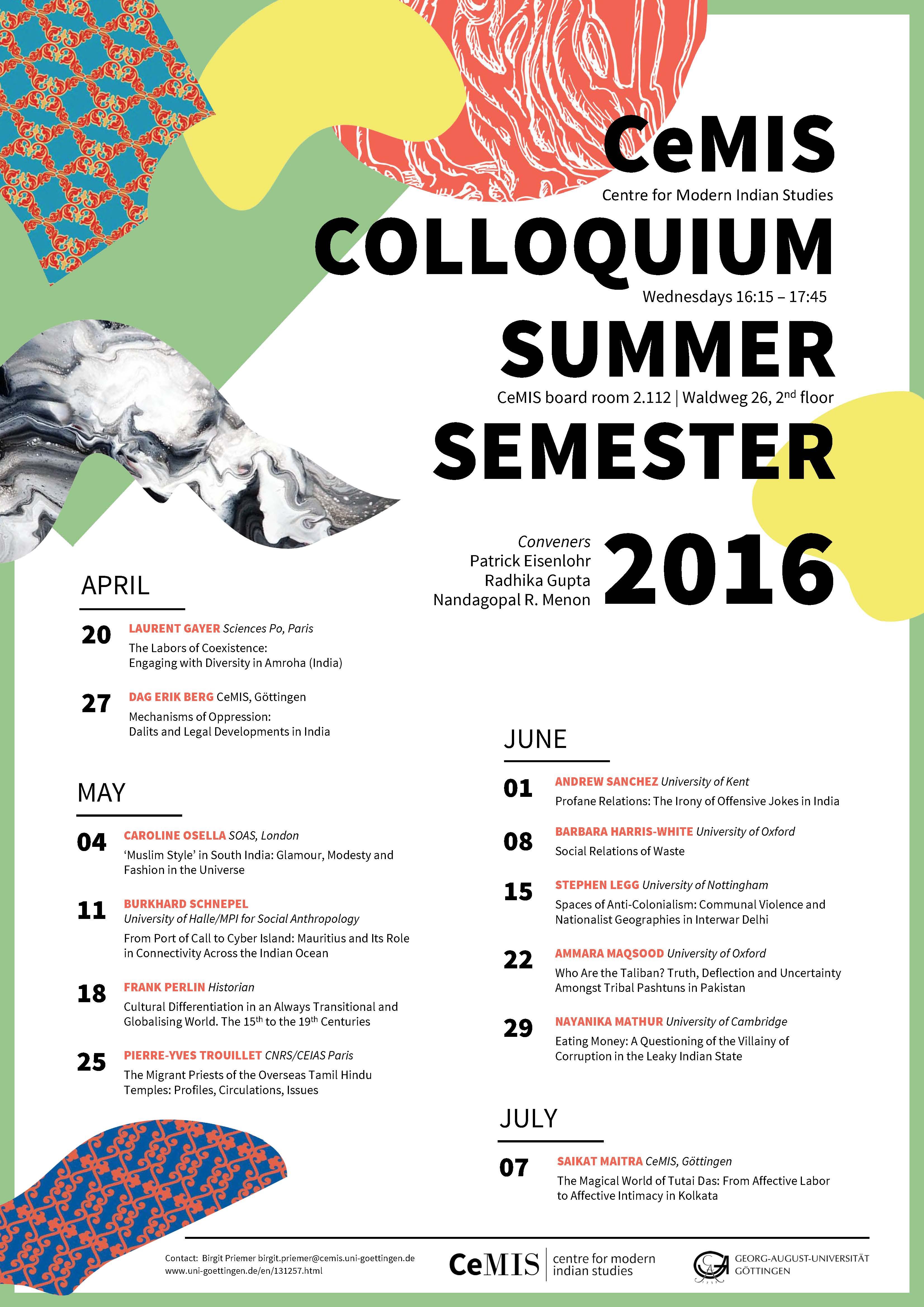 CeMIS Colloq - SoSe 2016 - 2